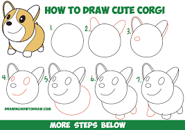 how to draw thanksgiving how to draw a cute corgi cartoon kawaii chibi easy step by