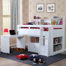 Midi Bed With Desk Mid Sleeper Bed White Pepper Jpg