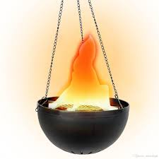 Flame Decorations 2017 Fake Fire Flame Light Hanging Bowl Style Led Electric Brazier