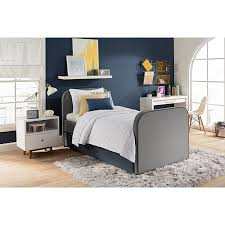Living Room Ideas For Yelle And Gray Amazon Com Dhp Jesse Twin Kids Bed With Trundle In Gray Linen