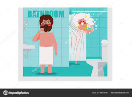 bathroom men in the bathroom men are brushing women are bathing calling a m