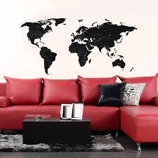 World Map Wall Decal by Black Labelled World Map Wall Stickers By The Binary Box