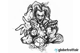 nice grey ink joker clown jester tattoo design