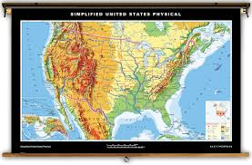 United States Maps by Klett Perthes Simplified United States Physical Map On Spring Roller