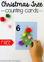 christmas tree counting cards kindergarten math activities