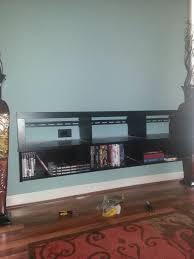 Home Center Decor Furniture Extravagant Black Wooden Floating Entertainment Center