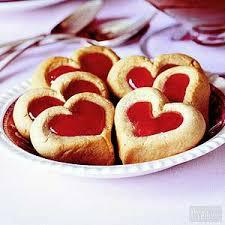 heart shaped cookies thumbprint cookies