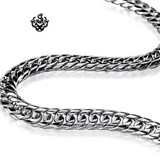 stainless silver necklace images Silver necklace solid stainless steel miami cuban link chain 24 jpg
