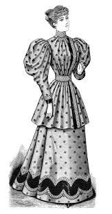 clip art old fashioned polka dot dress illustration black and