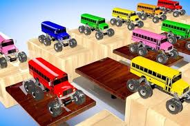 bus monster truck videos learning videos for kids and colors for children to learn with