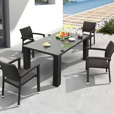 Glass Patio Table Set Zuo Modern Boracay Patio Dining Set With Glass Top Table Seats 4