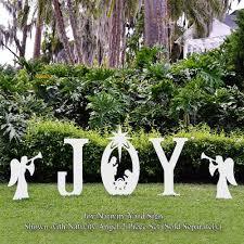 lighted merry christmas yard sign amazon com teak isle christmas joy nativity yard sign yard art