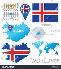 Iceland Map World Republic Iceland Flag World Map Vector Stock Vector 150926135
