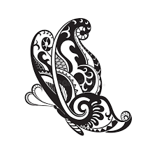 butterfly with ornaments in the style of the maori stock
