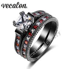 black gold wedding sets vecalon antique wedding band ring set for women aaaaa