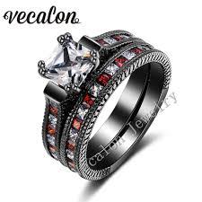 black gold wedding sets vecalon antique wedding band ring set for women aaaaa