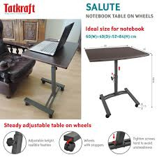 Portable Laptop Desk On Wheels by Amazon Com Tatkraft Salute High Quality Laptop Desk Cart Computer