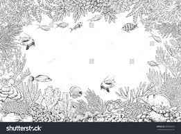 hand drawn underwater natural elements sketch stock vector