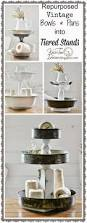 tiered stands with repurposed bowls and tins tiered stand