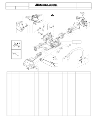 mcculloch mac 4 18xt chainsaw service parts list