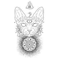 tattoo cat neko geometric tattoo tattoo design tattoodesign ink84 dotwork