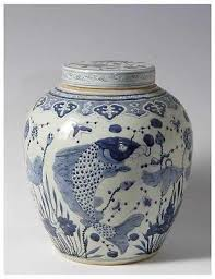 Ginger Jar Vase Beautiful Blue And White Porcelain Flat Top Ginger Jar Fish Motif