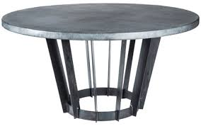 dexter dining table with 48 round dark brown hammered zinc top
