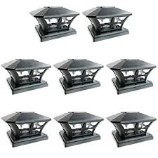 Outdoor Solar Table L Iglow 8 Pack Black Outdoor Garden 6 X 6 Solar Smd Led Post Deck