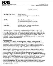 fdic oig drr u0027s internal loan servicing march 1 2005
