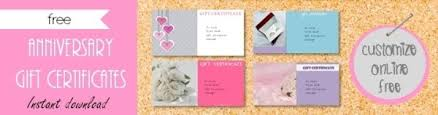 online gift certificates free printable anniversary gift vouchers customize online