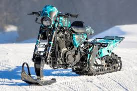 snow motocross bike harley davidson snow drag timbersled converted sportster roadster