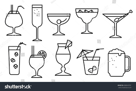 icon set alcohol cocktails thin simple stock vector 608043791