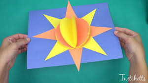 3d paper sun construction paper crafts for kids youtube