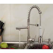 led kitchen faucets contemporary single handle nickel brushed pull out spray led