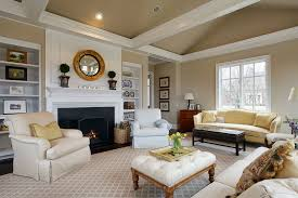 Pottery Barn Living Room Traditional Living Room With Built In Bookshelf U0026 Cement Fireplace