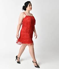 unique vintage plus size 1920s style red speakeasy tiered fringe