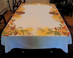 large vintage thanksgiving tablecloth turkeys autumn