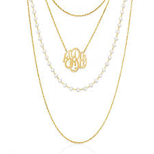 monogram necklace gold basch designs layers of luxe monogram necklace gold flag