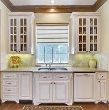sink bump out kitchen traditional with window treatment