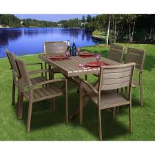 Recycled Plastic Outdoor Furniture Atlantic Glasgow 6 Person Recycled Plastic Patio Dining Set With