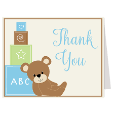 teddy bear blue thank you card u2013 the invite lady