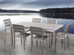 Kitchen Set Aluminium Aluminium And Poly Wood Outdoor Dining Set With 6 Chairs Vernio Grey
