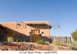 Adobe Style Home Mission Style Home Adobe New Mexico United States Adobe Stock
