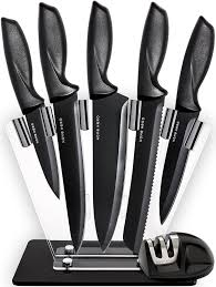 How To Sharpen Kitchen Knives At Home Amazon Com Kitchen Knives Knife Set With Stand Plus