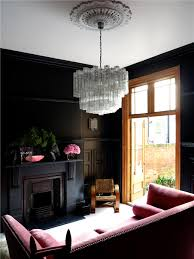 modern and elegant style with black living room hupehome source felix forest black living room with beautiful pink sofa