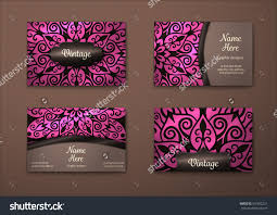 vector vintage business card set floral mandala pattern and
