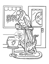 parrot and cat pets coloring page for kids animal coloring pages
