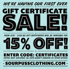 gift card sale gift certificate sale sourpuss clothing sourpuss clothing