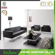 Office Set Design Simple Design Office Wooden Frame Stainless Steel Sofa Set S04