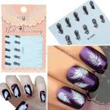 sheet nail art wrap tips white swan fluffy feathers watermark